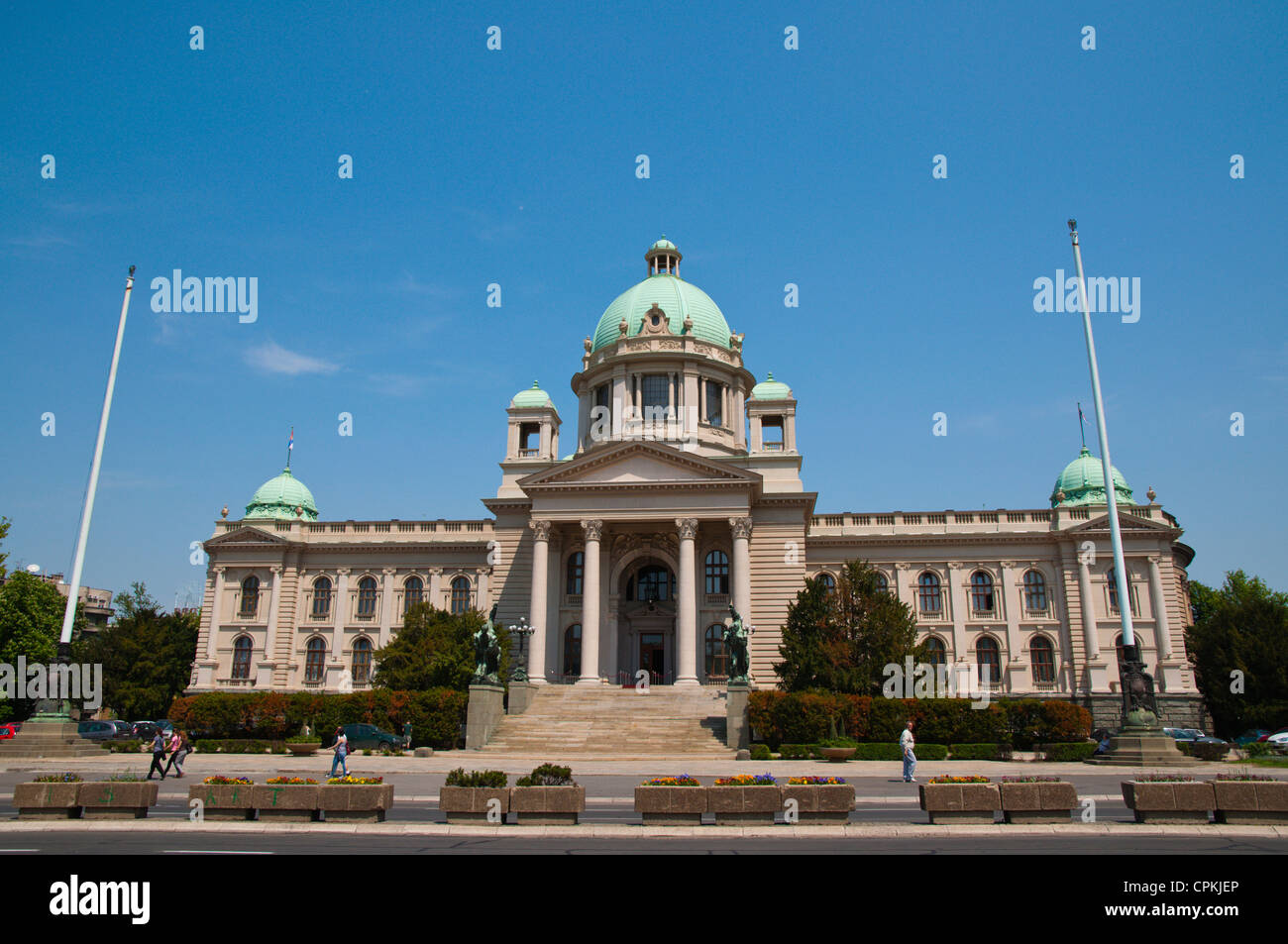 Serbian national assembly parliament building central Belgrade Serbia Europe - Stock Image