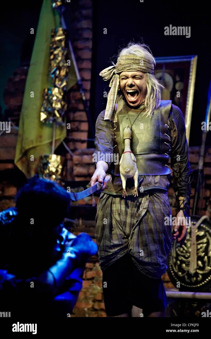 Thai theatre production of the  'Siege of Ayutthaya' battle reenactment show, Ayutthaya floating market - Stock Image