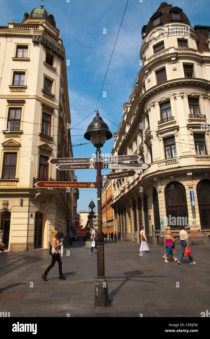 Knez Mihailova pedestrian street old town Belgrade Serbia Europe - Stock Image