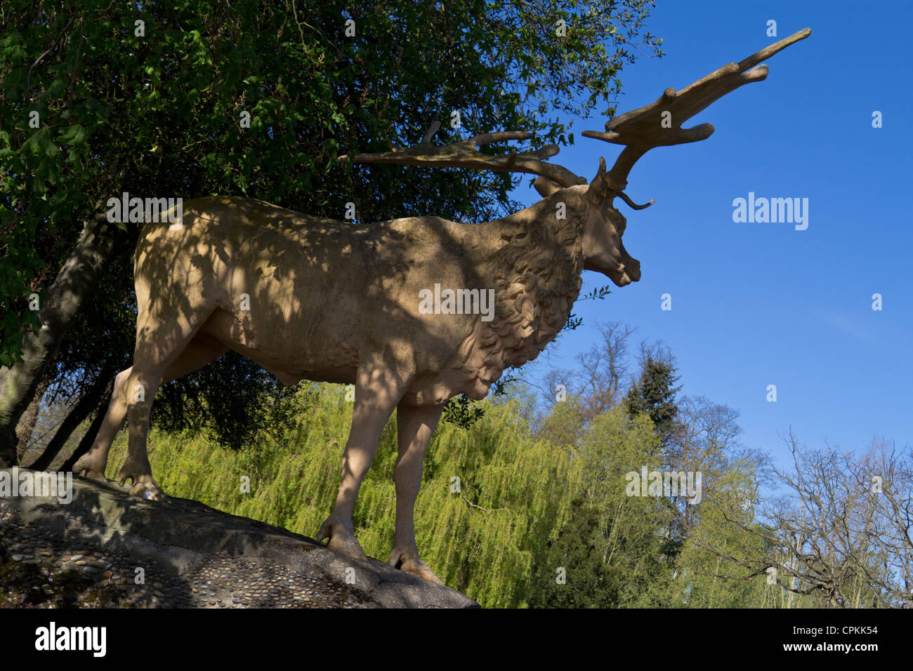 deer (related predecessor)  dinosaur statue at Crystal Palace park Stock Photo