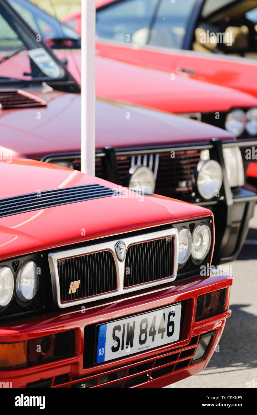 Collection of classic and modern Italian cars on display - Stock Image