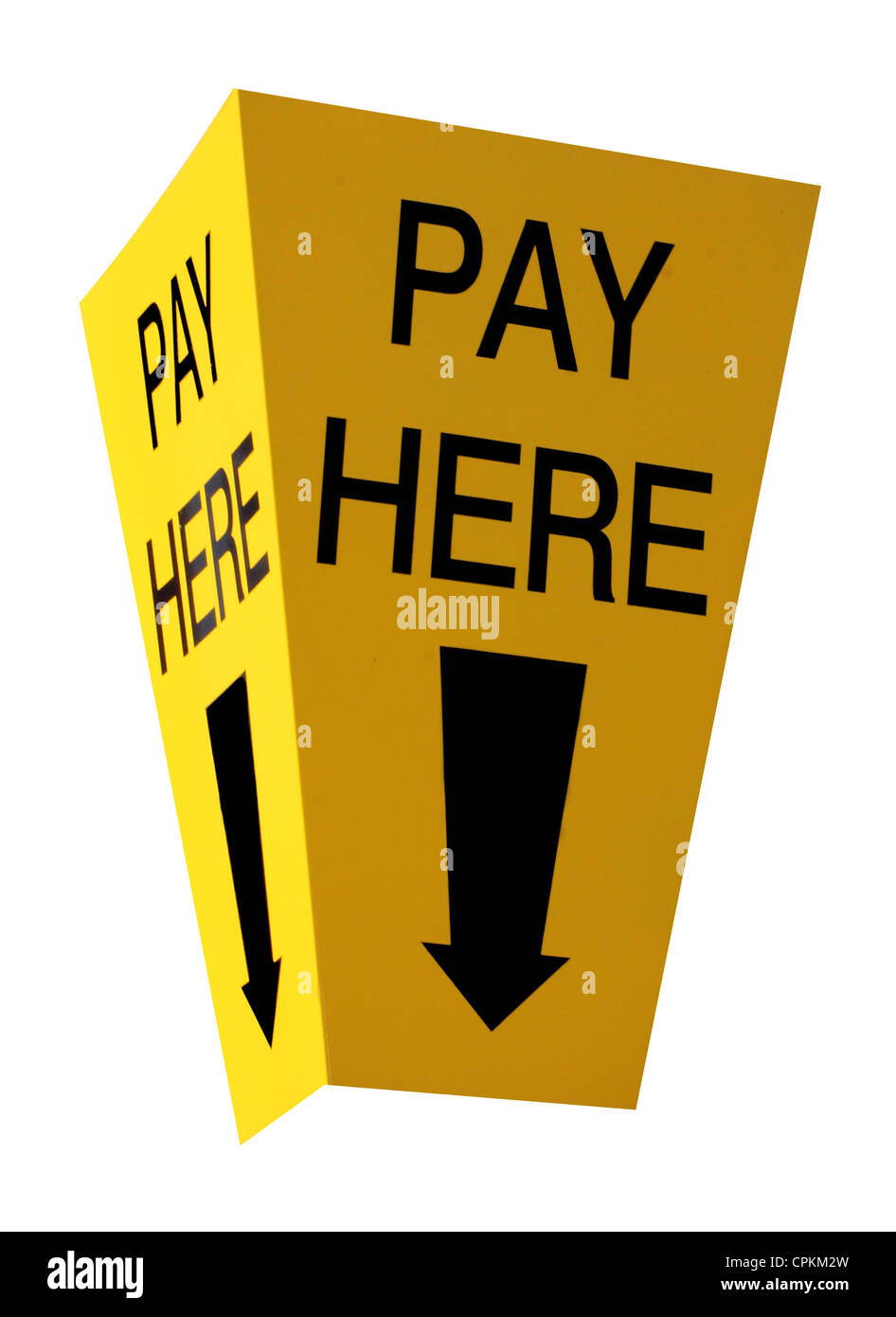 Yellow car parking pay here sign isolated on a white background. - Stock Image
