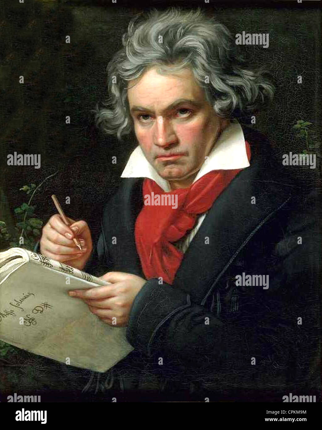 Painting of Ludwig van Beethoven in 1820 by Joseph Karl Stieler. Image in public domain due to paintings age. - Stock Image