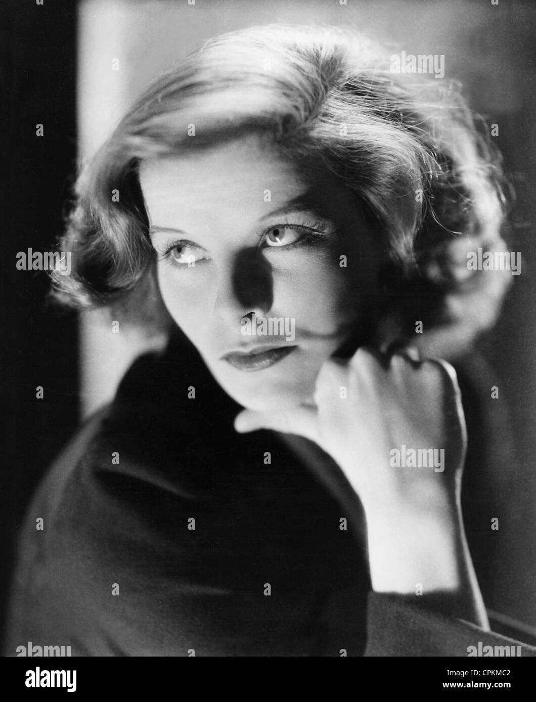 A black and white portrait of the film star Katharine Hepburn pictured in Los Angeles in 1938. - Stock Image
