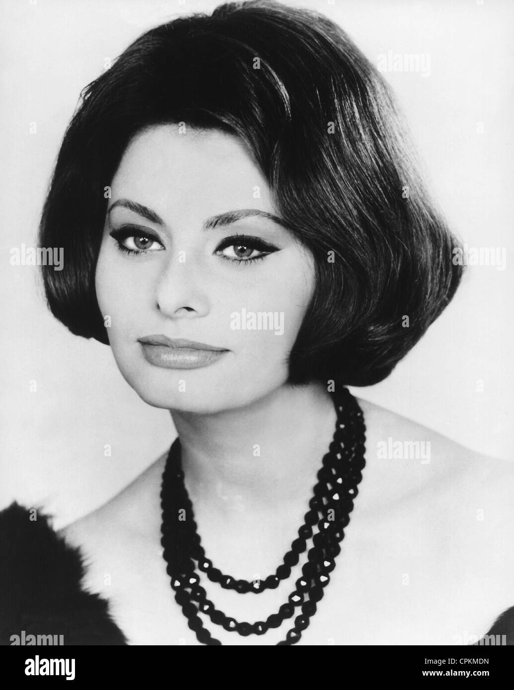 A black and white portrait of the film star Sophia Loren pictured in Los Angeles in 1956 - Stock Image