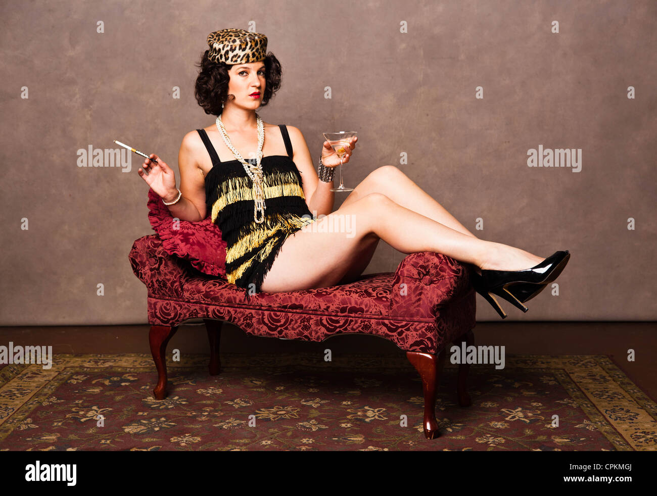 Half Dressed smoking woman Vintage of 1920/'s