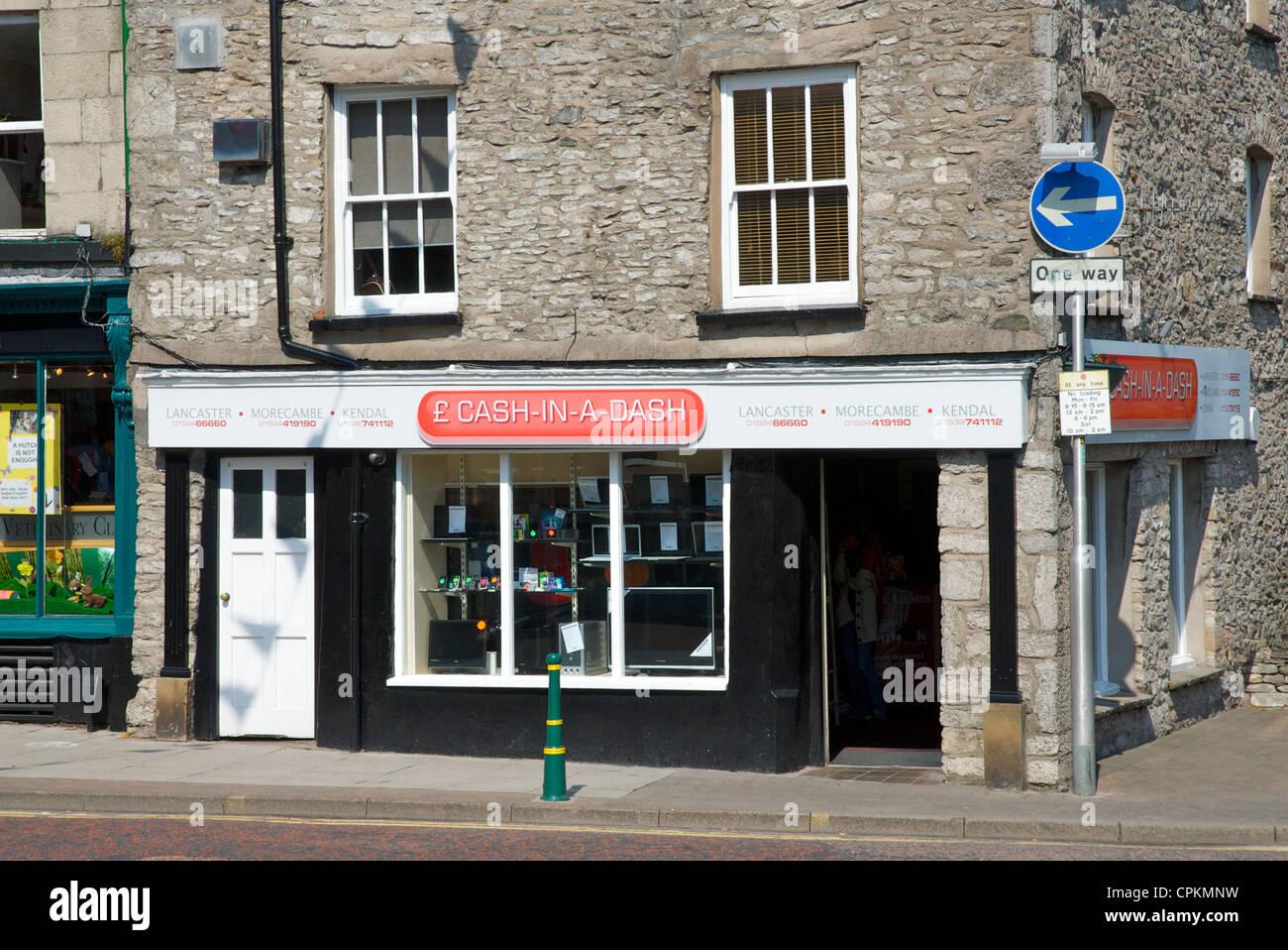 Cash in a Dash shop on Highgate, Kendal, Cumbria, England UK - Stock Image