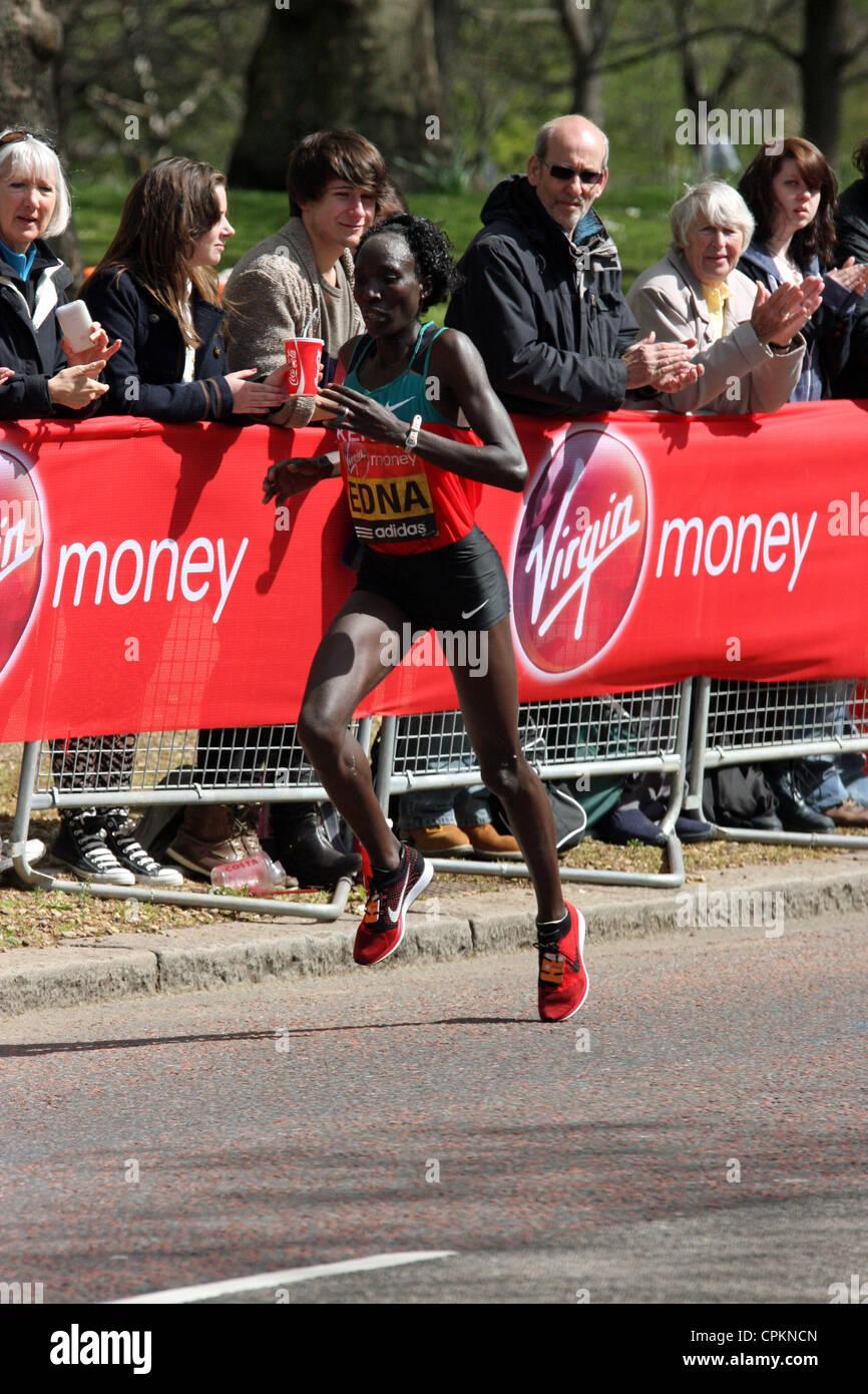 Edna Kiplagat Kenya in the womens 2012 Virgin London marathon Stock Photo