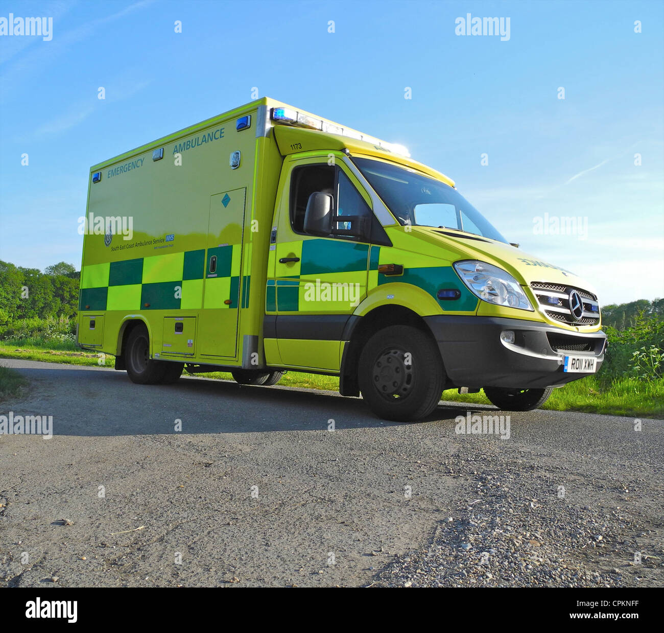 An Emergency Ambulance in a rural setting UK Editorial use only. - Stock Image