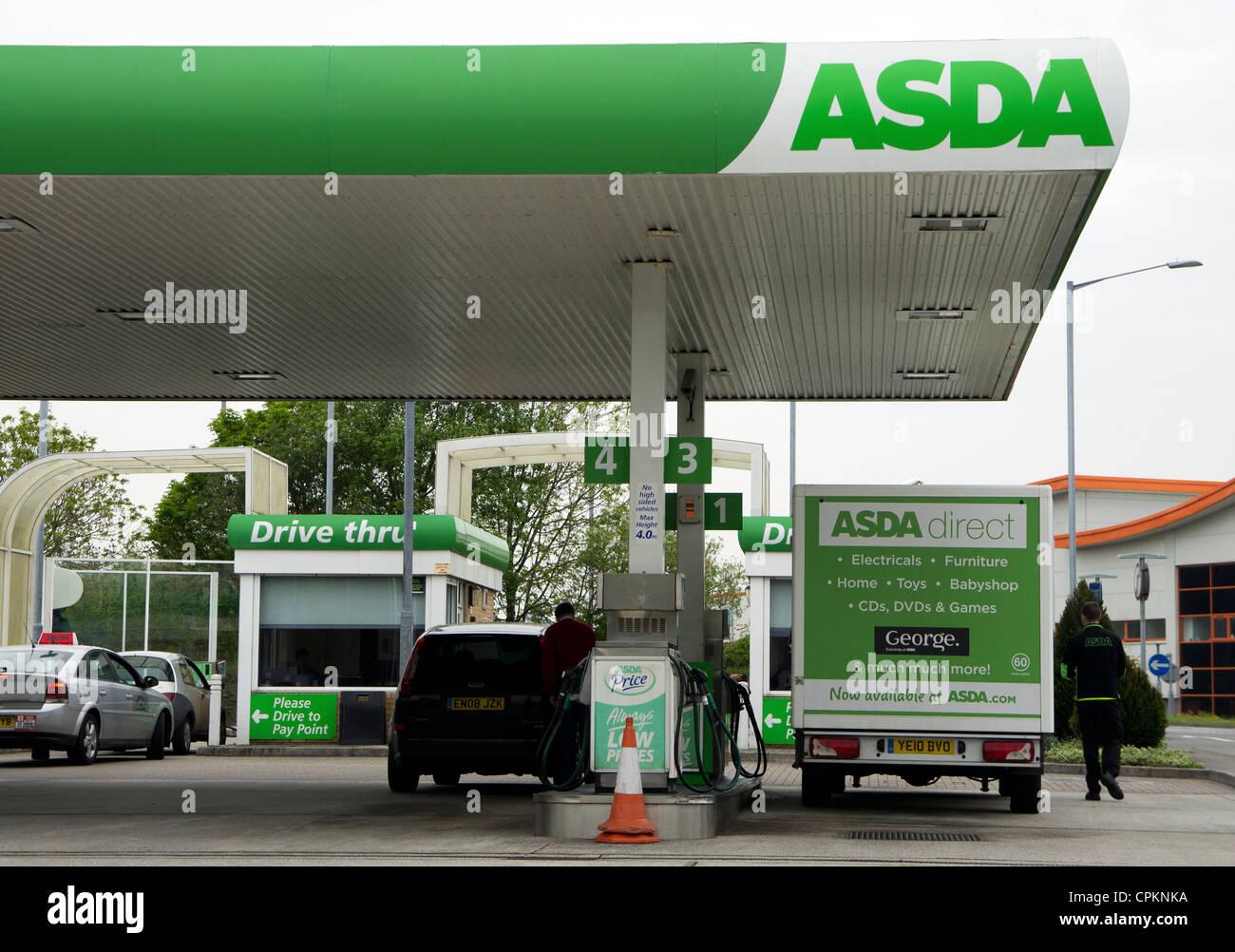 An Asda petrol station forecourt, cornwall, uk - Stock Image