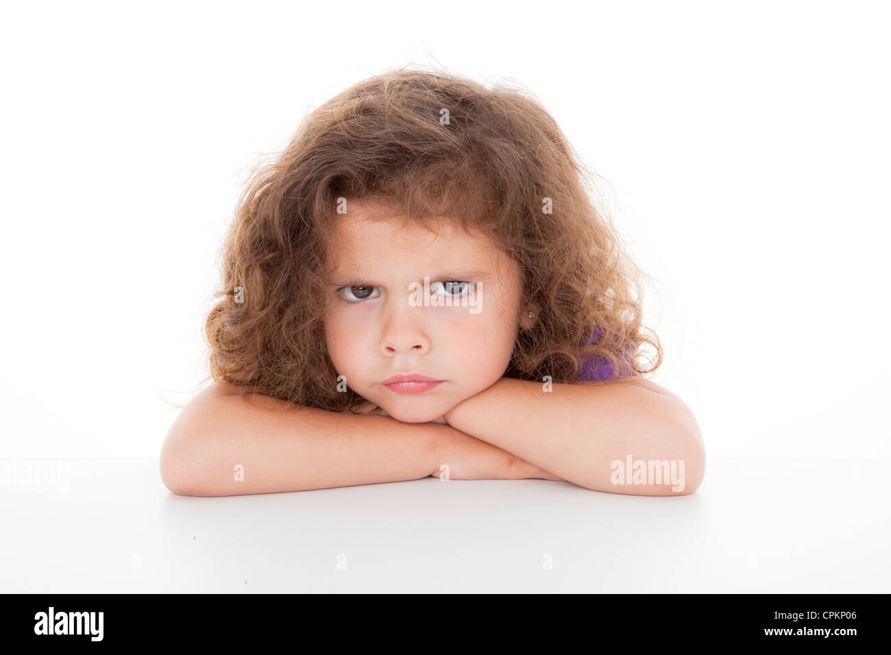 sulky angry young girl child, sulking and pouting, - Stock Image