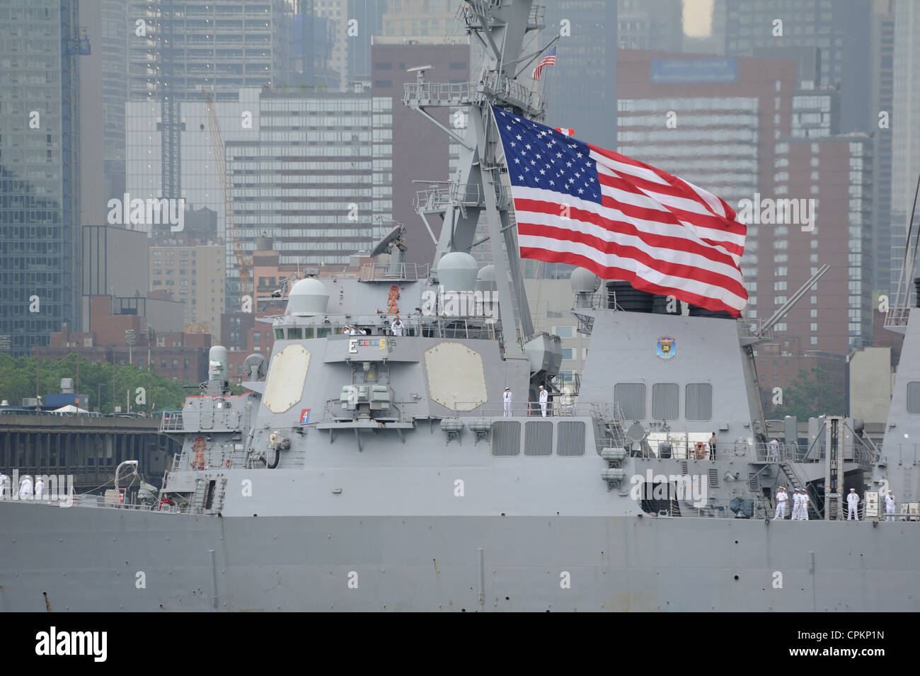 The USS Donald Cook, a guided missile destroyer in the U.S. Navy, took part in the OpSail/Fleet Week parade on the - Stock Image