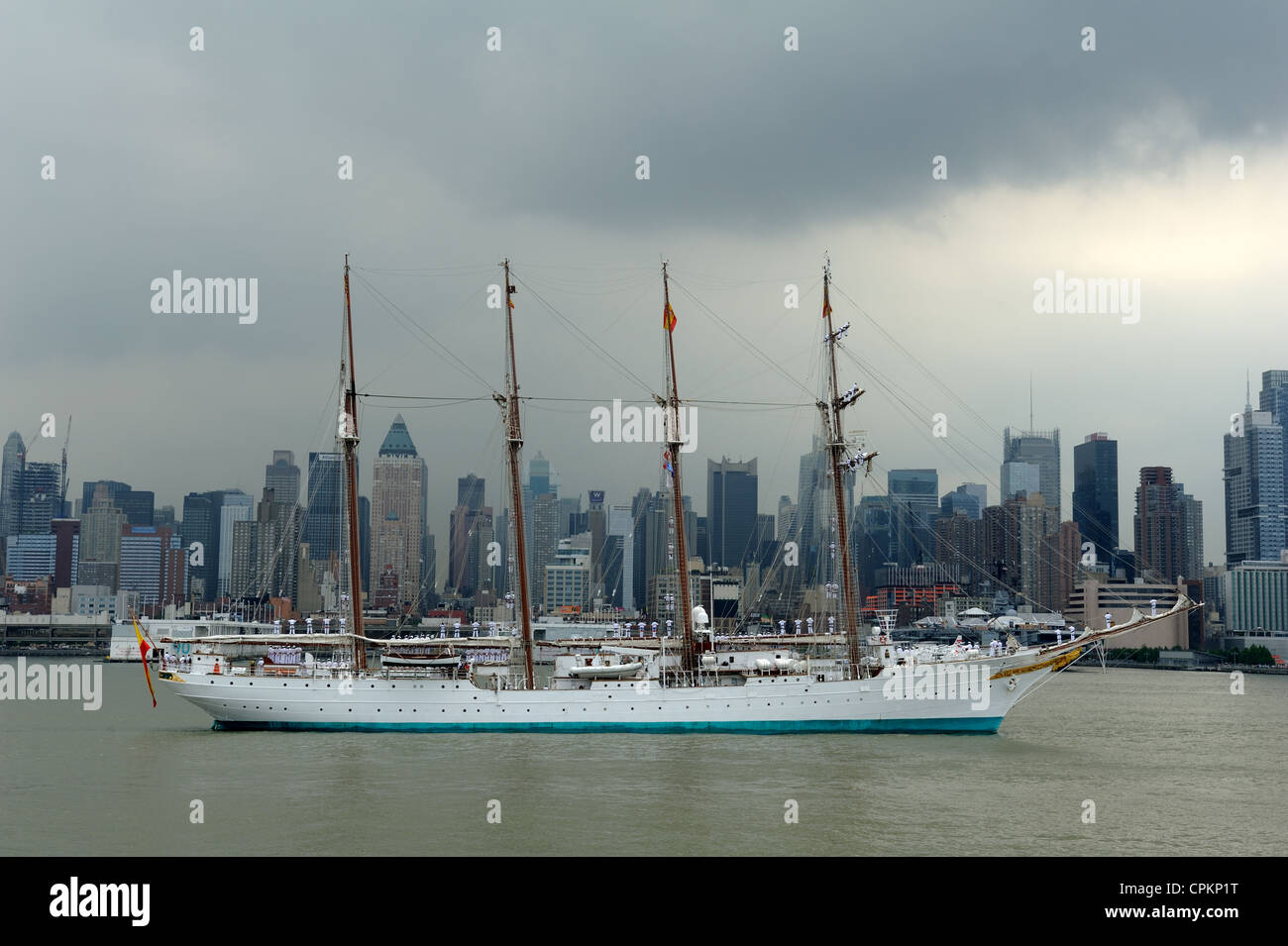 Juan Sebastian de Elcano, a training ship for the Spanish Navy, participated in OpSail 2012 in New York City. - Stock Image
