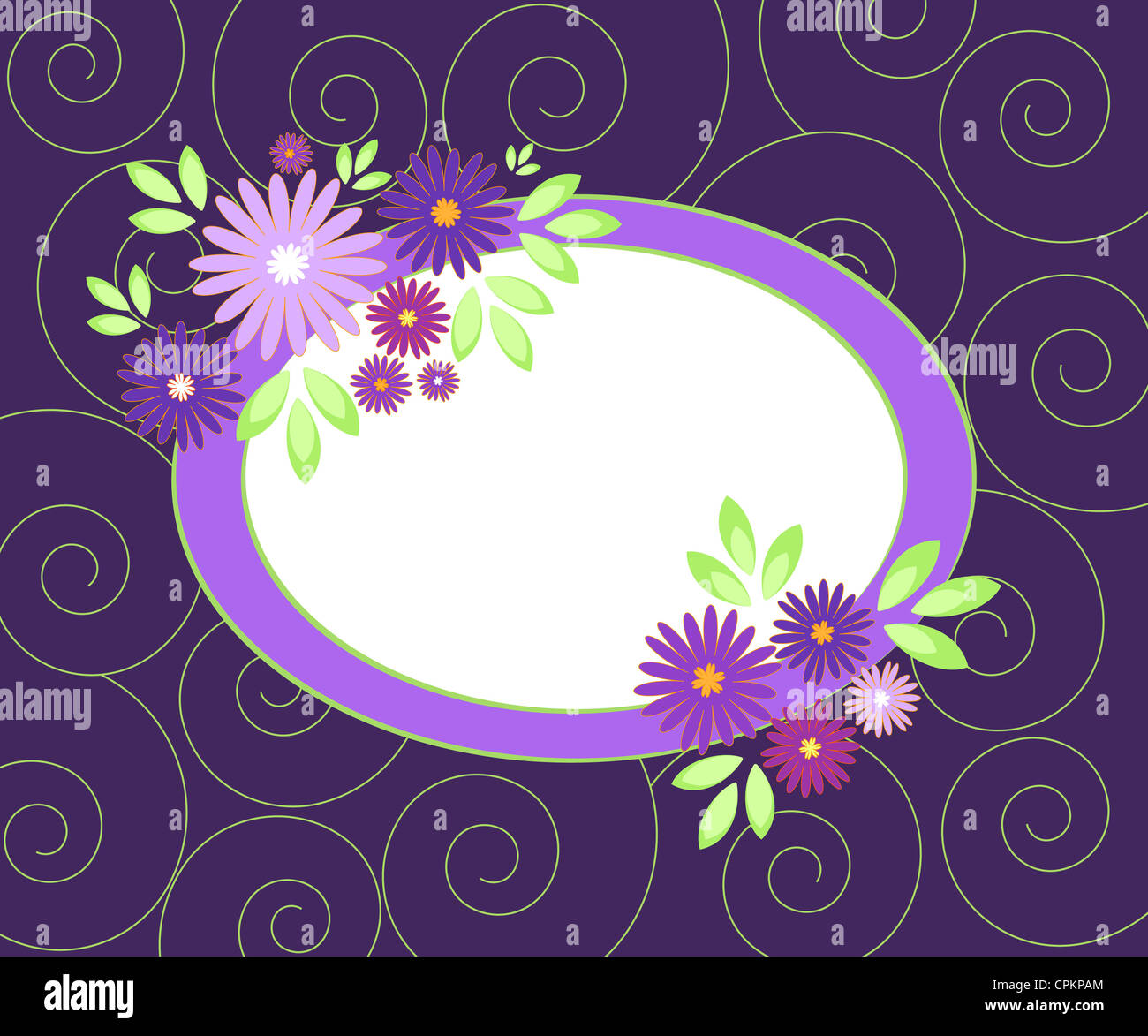 Violet flowers frame on spiral pattern Stock Photo