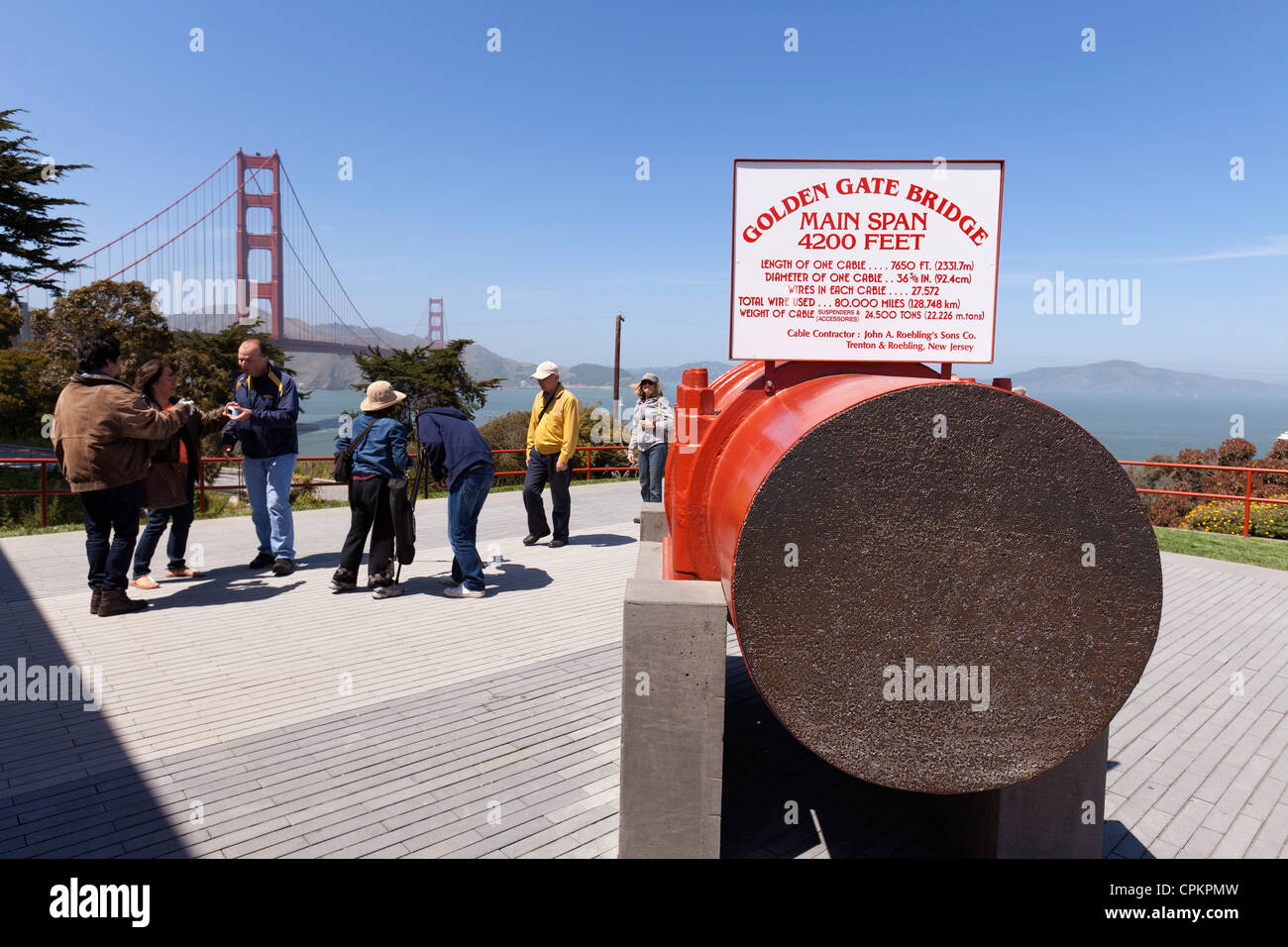 Cross-section view of the main suspension cable used on the Golden Gate Bridge - Stock Image