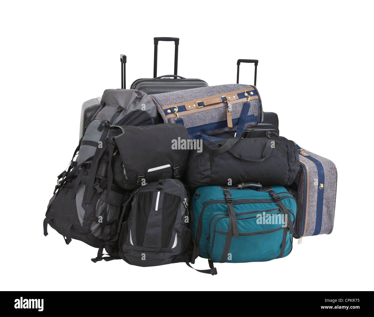 Large pile of suitcases, luggage, bags and backpacks isolated. - Stock Image