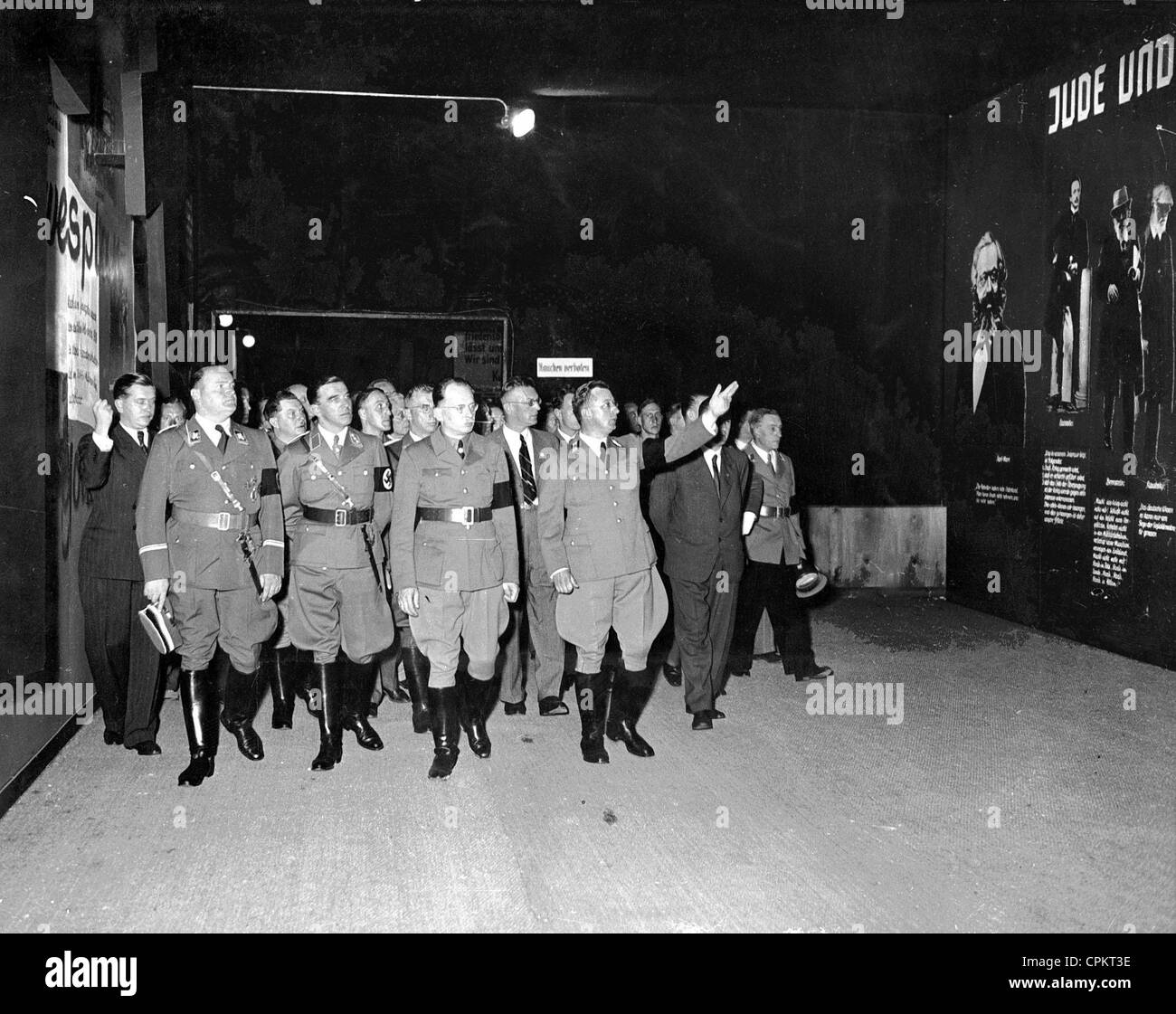 "Arthur Seyss-Inquart at the opening of the propaganda exhibition ""The Eternal Jew"", Vienna, 1938 (b/w photo) Stock Photo"
