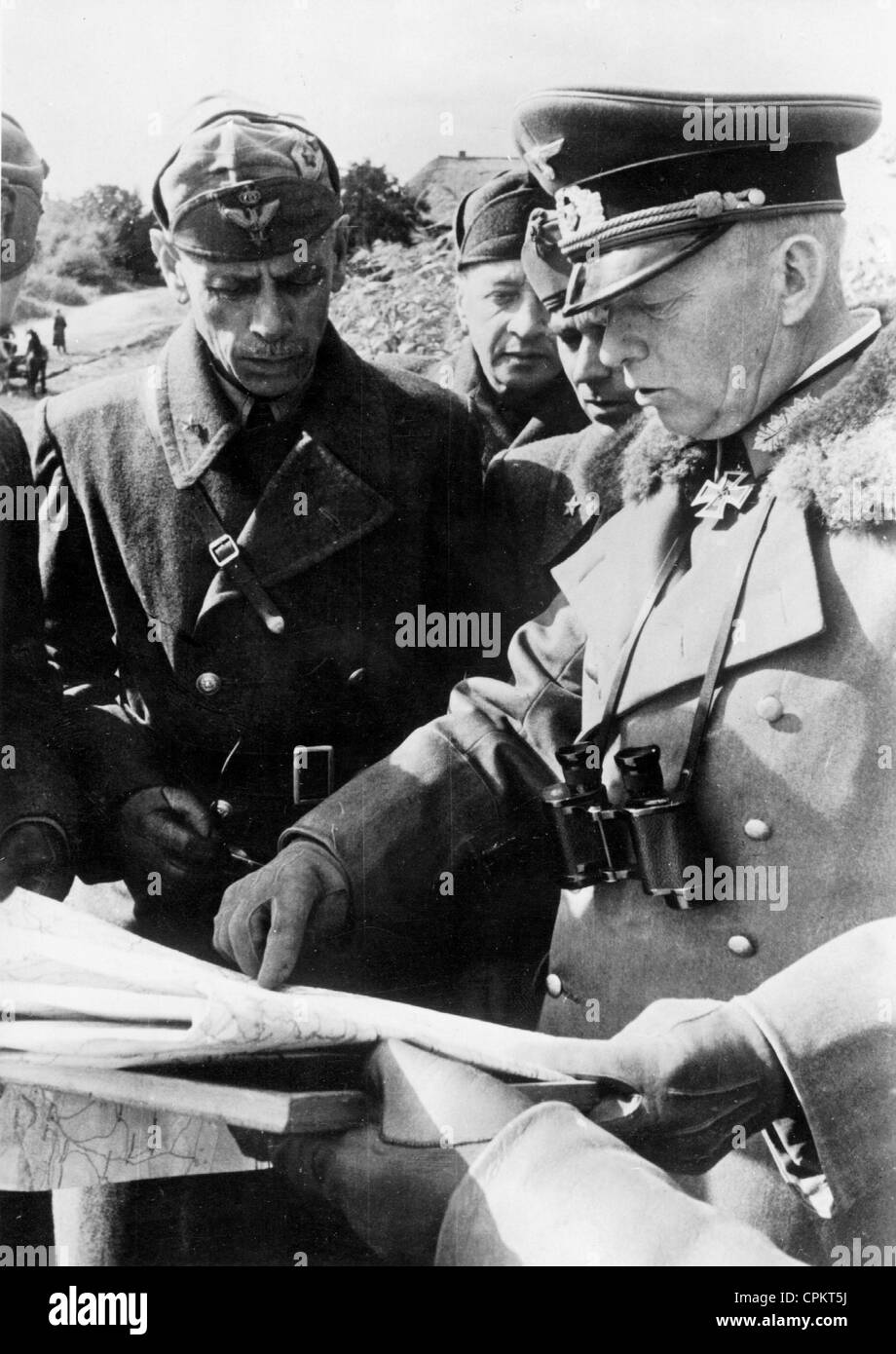 General Ewald von Kleist and General Giovannelli in the Ukraine, 1941 Stock Photo