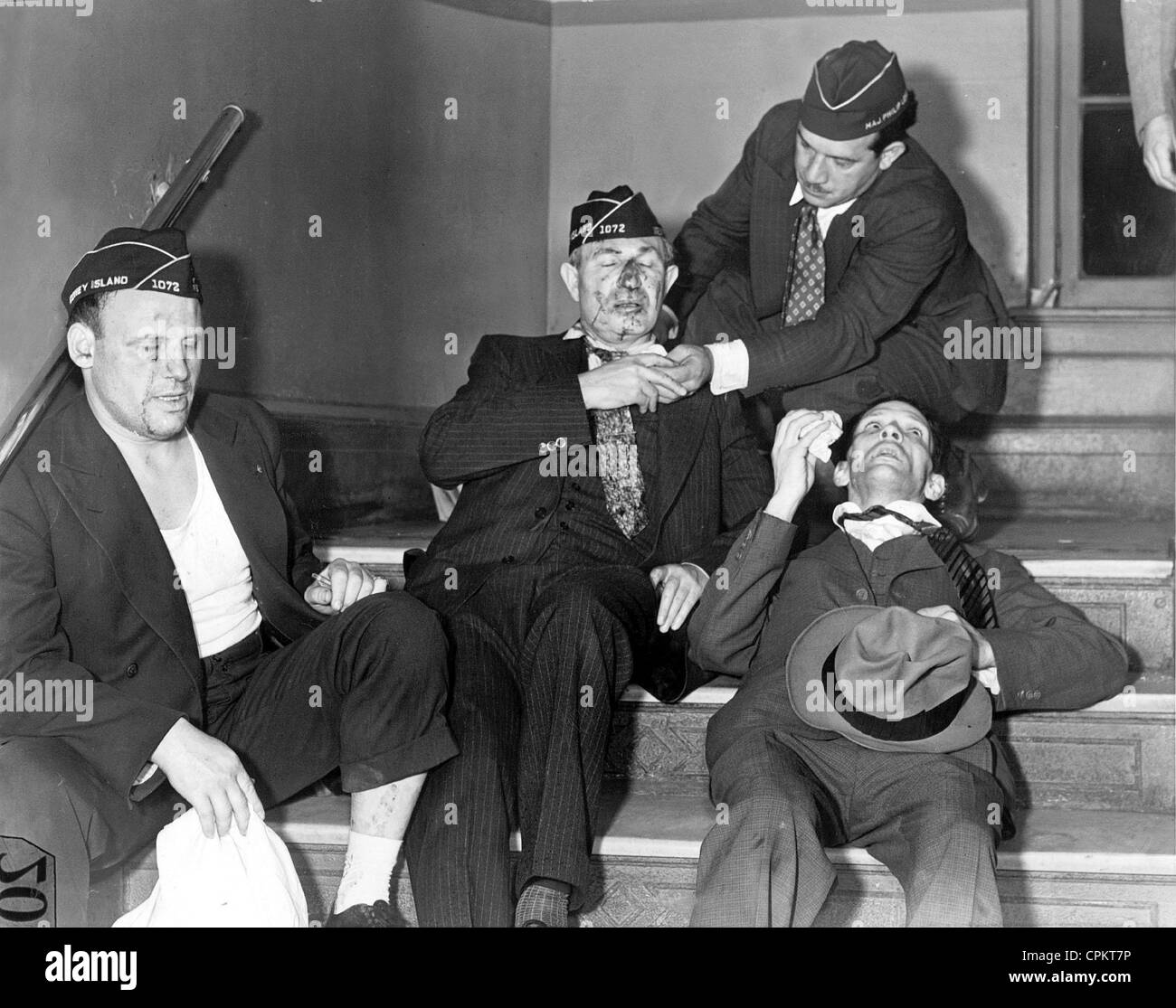 Victims of a brawl with American Nazis, 1938 Stock Photo