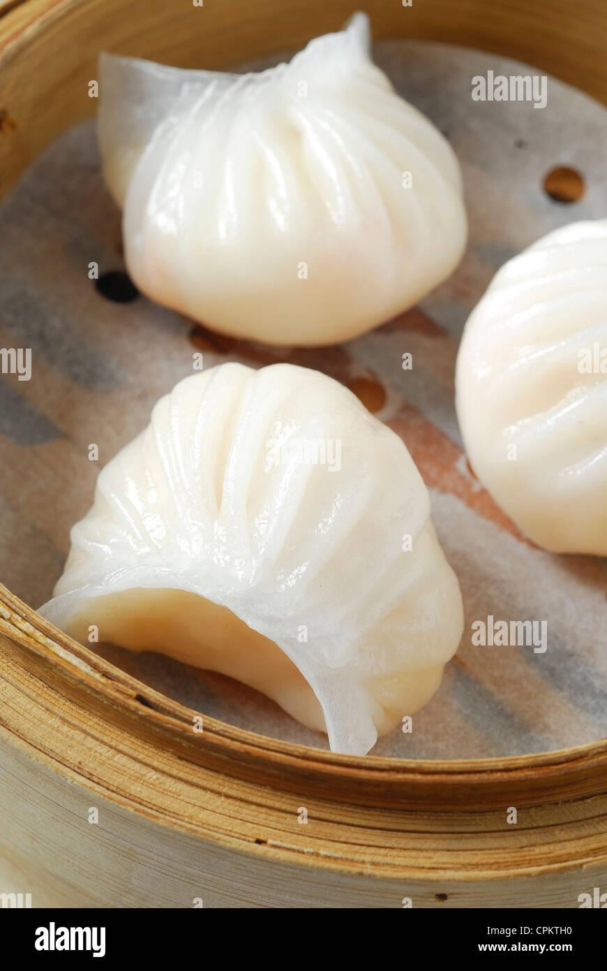 dim sum in bamboo basket Stock Photo