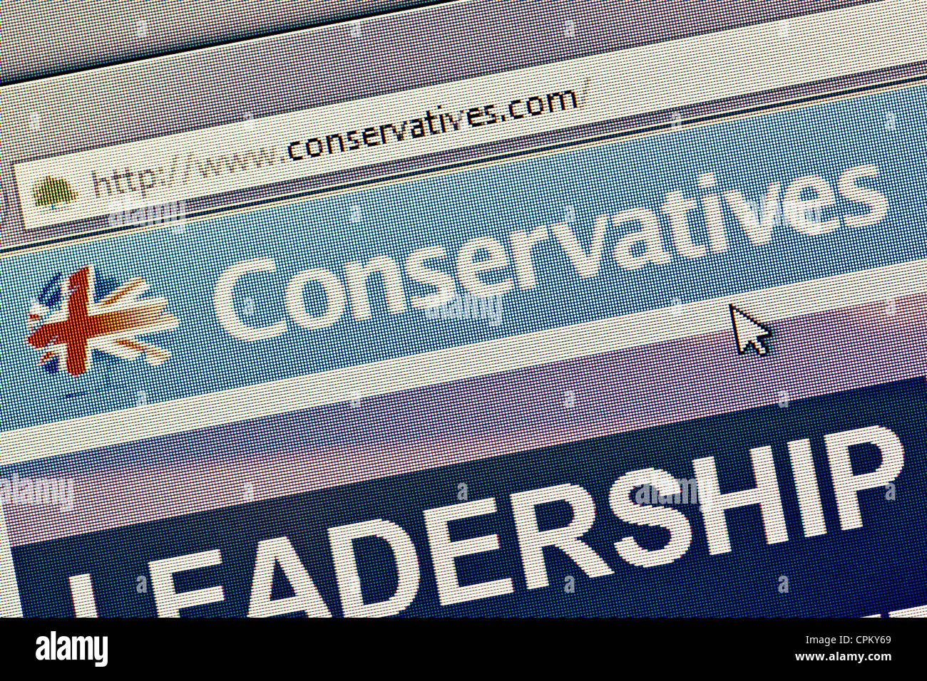 Conservative Party UK logo and website close up - Stock Image