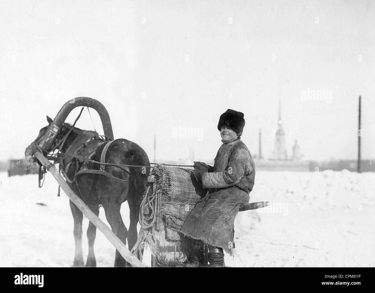 Horse-drawn sleigh on the Neva, 1906 Stock Photo
