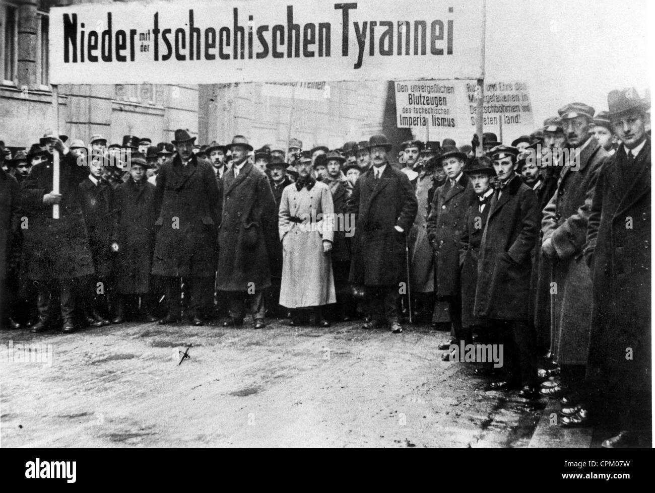 Anti-Czech demonstration in Vienna, 1919 - Stock Image