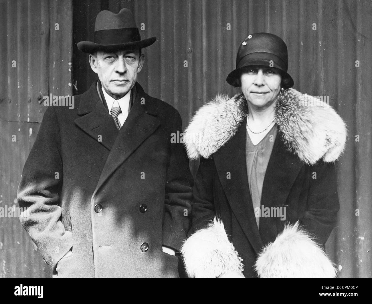 Sergei Rachmaninoff with his wife, 1928 - Stock Image