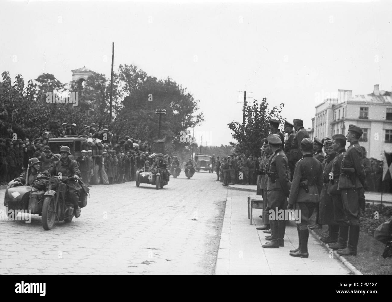 Parade during the withdrawal of the Germans from Brest-Litovsk, 1939 - Stock Image