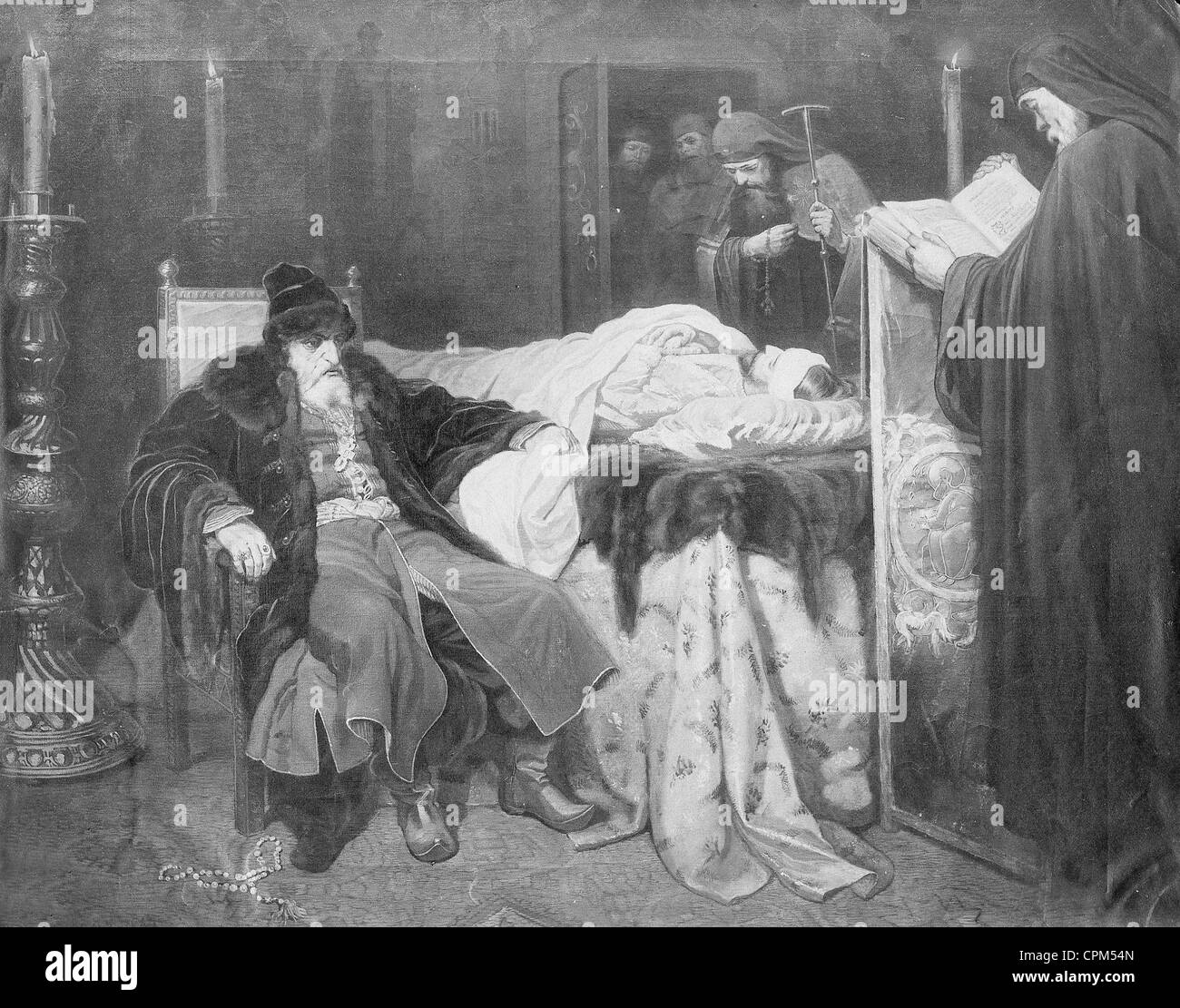 Ivan the Terrible at the dead body of his son - Stock Image