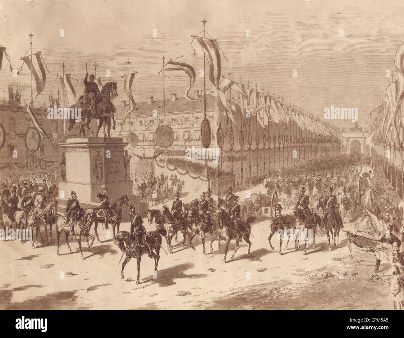Return of the Bavarian troops after the Franco-Prussian War, 1871 - Stock Image
