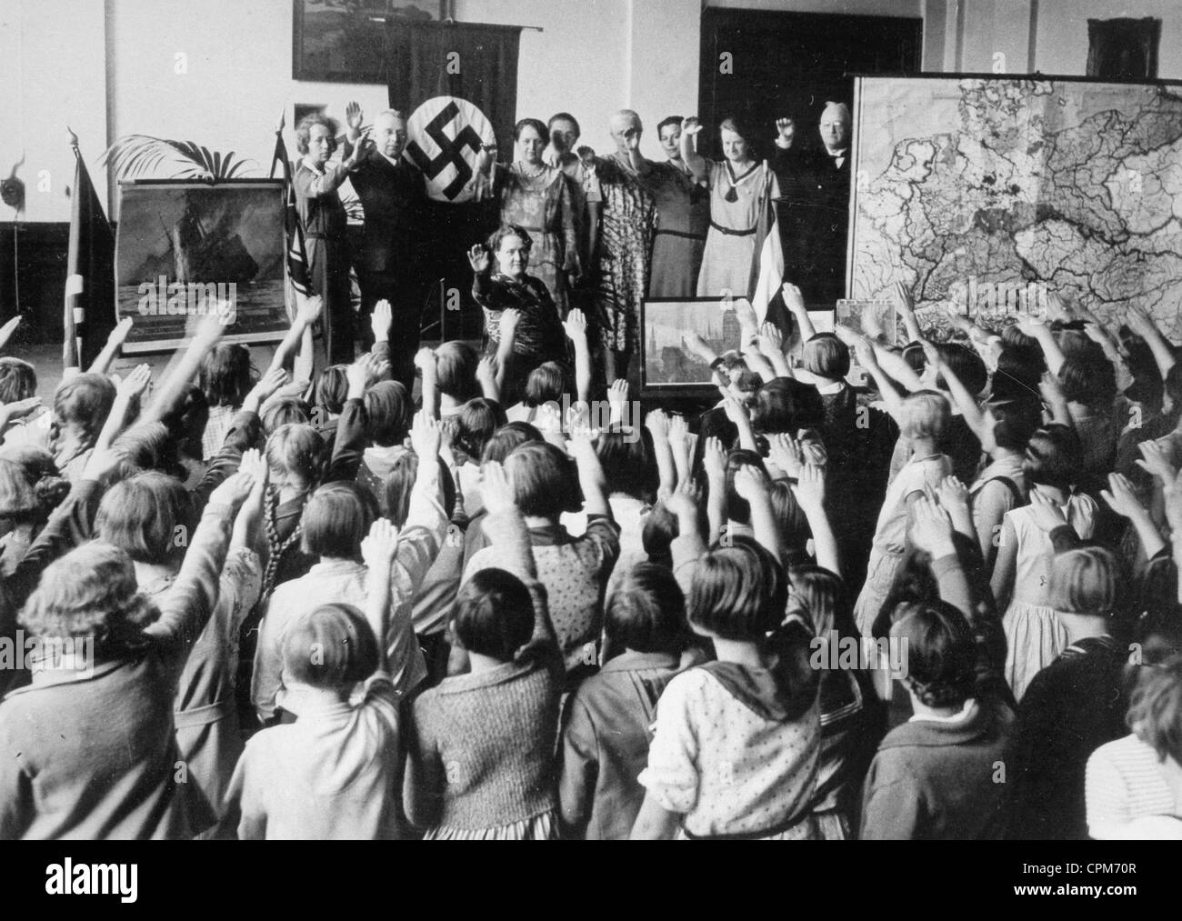 Nazi ceremony in a school, 1934 - Stock Image