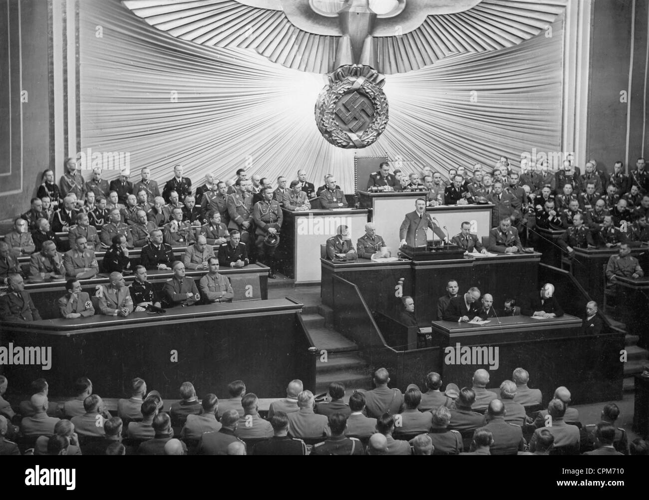 Adolf Hitler makes a speech in the Reichstag, 1939 - Stock Image