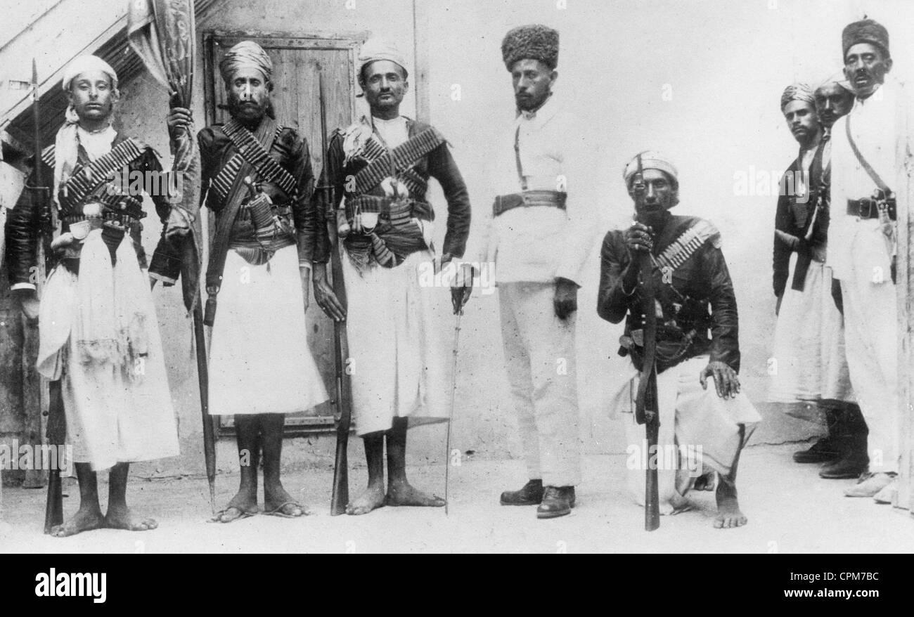 Bodyguards of the Imam of Yemen, Sana'a, 1934 (b/w photo) - Stock Image