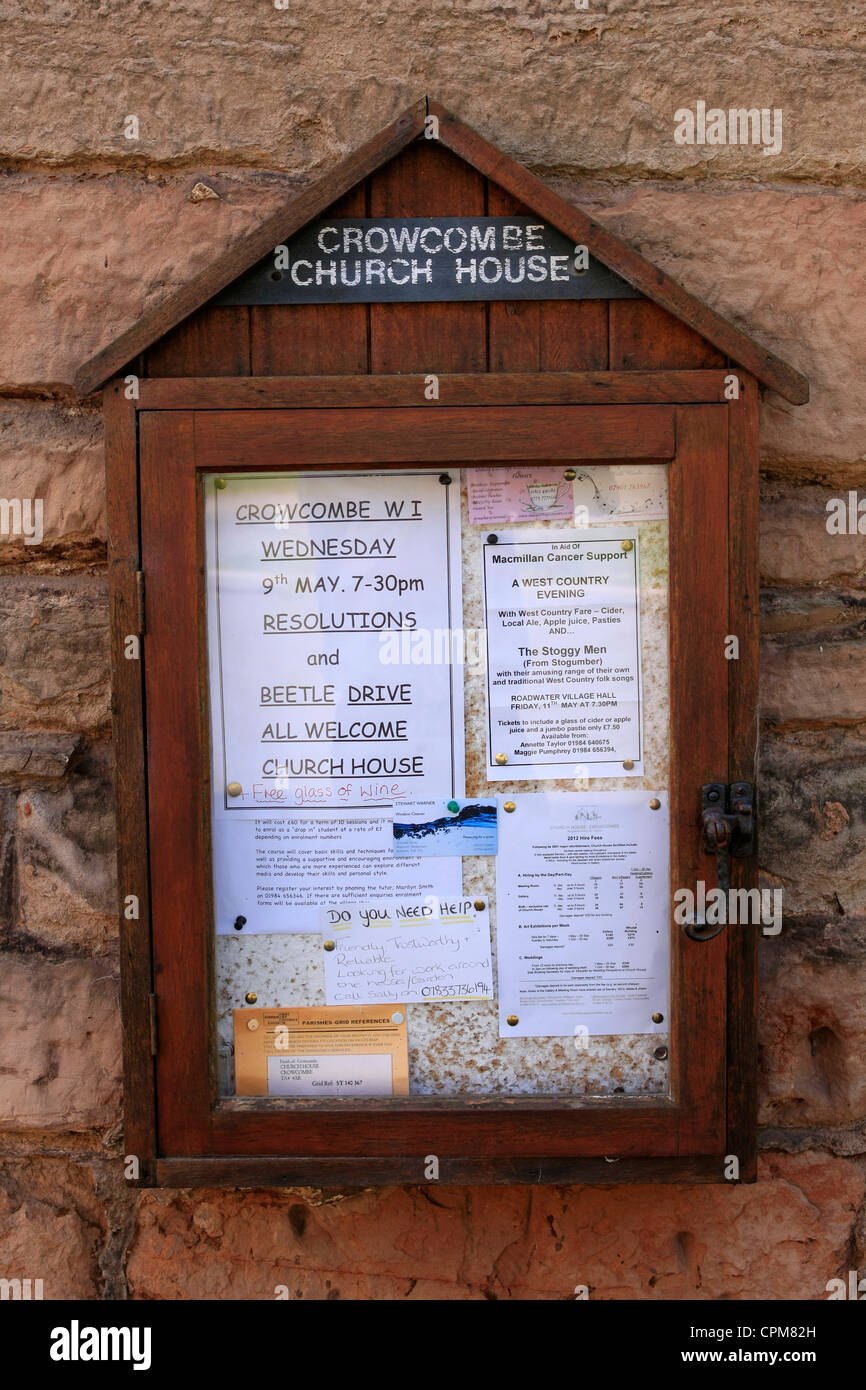 The Crowcombe Parish Church House Noticeboard - Stock Image