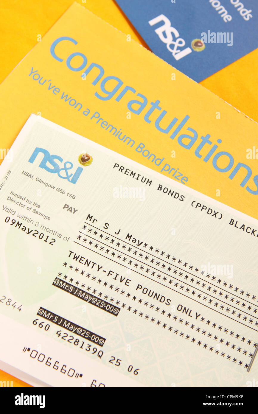 Premium Bonds winner prize cheque NS&I - Stock Image