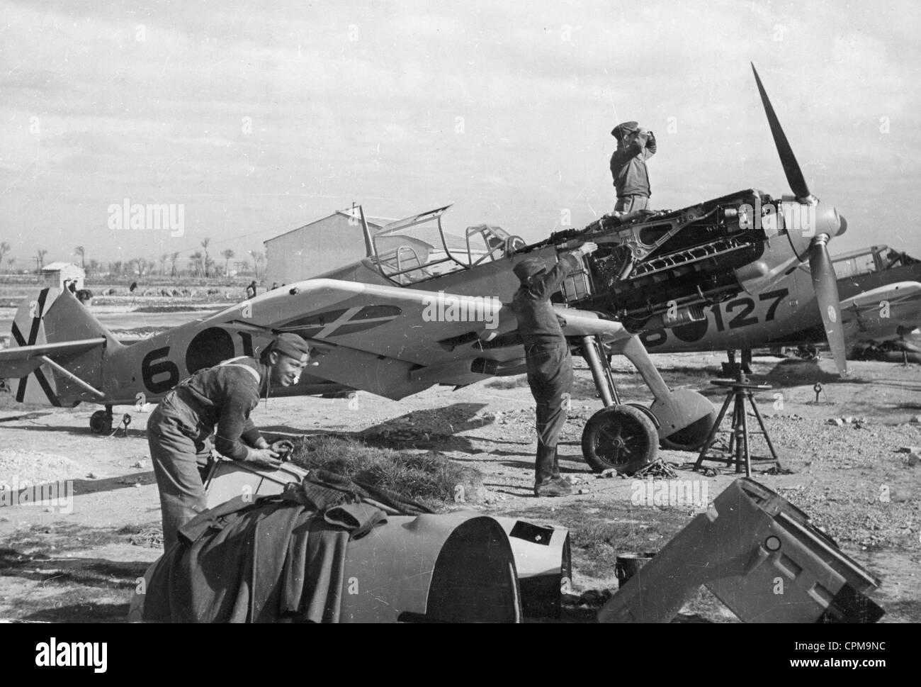 Combat aircraft Messerschmitt Me 109 of the German Legion ...  |Anti Aircraft Guns Spanish Civil War