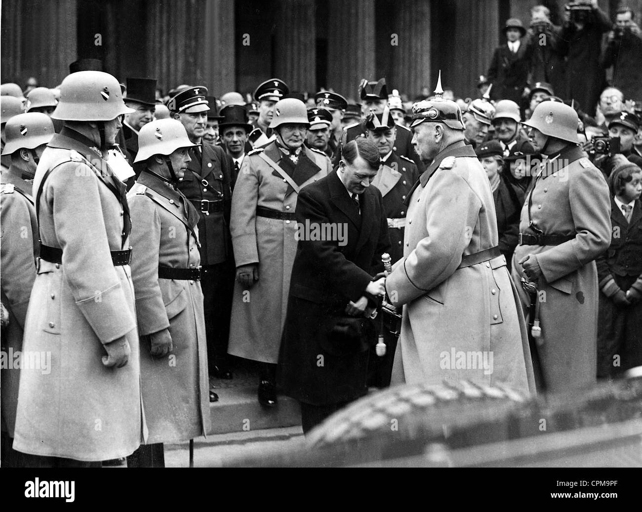 Adolf Hitler and Paul von Hindenburg on the Heldengedenktag (Heroes Memorial Day), 1934 - Stock Image