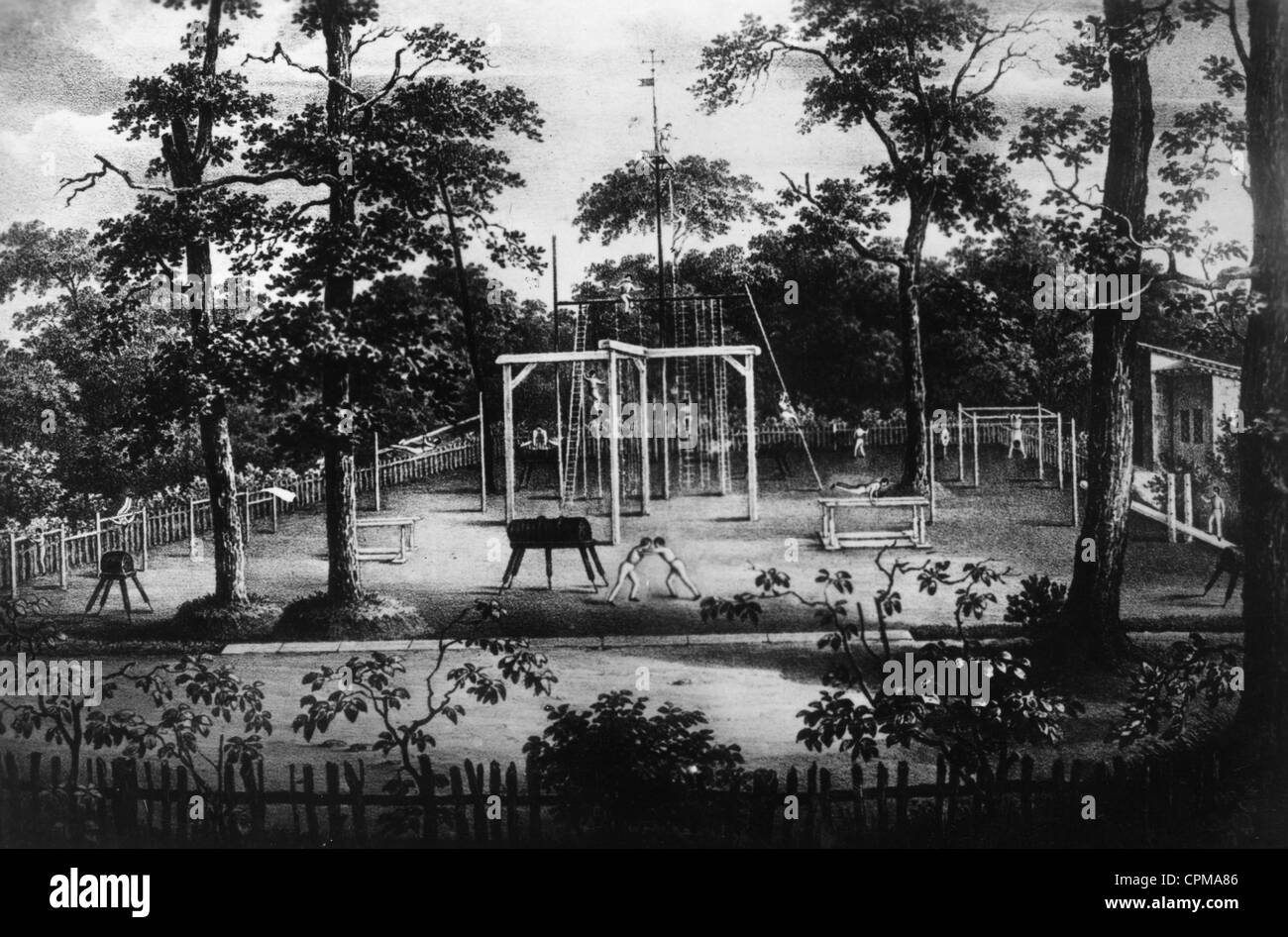 Turnplatz (open-air gymnasium) in the Hasenheide, 1811 Stock Photo