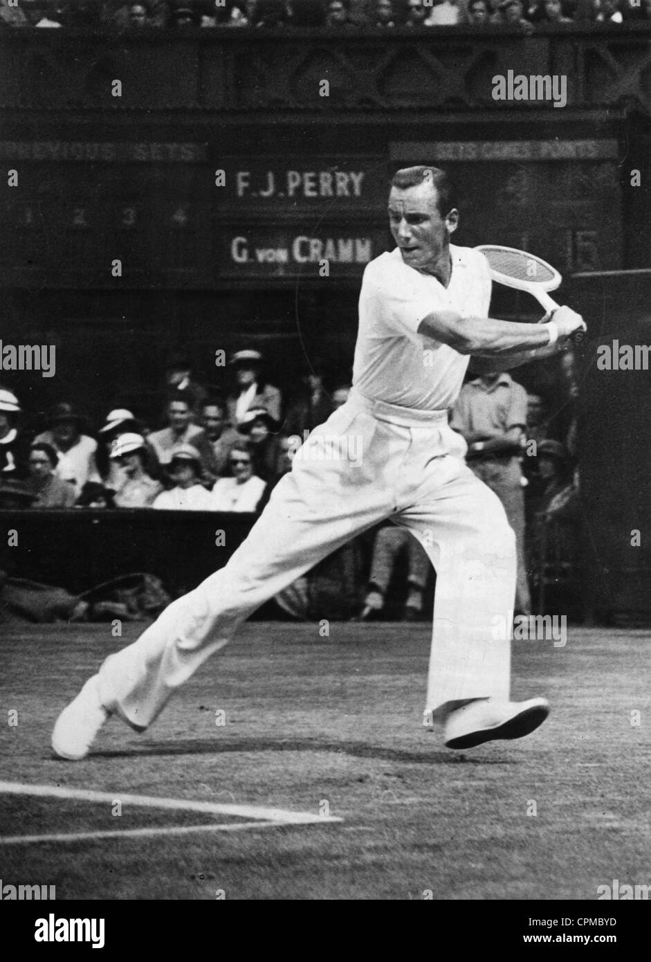 Fred Perry plays a tennis match in Wimbledon, 1936 - Stock Image