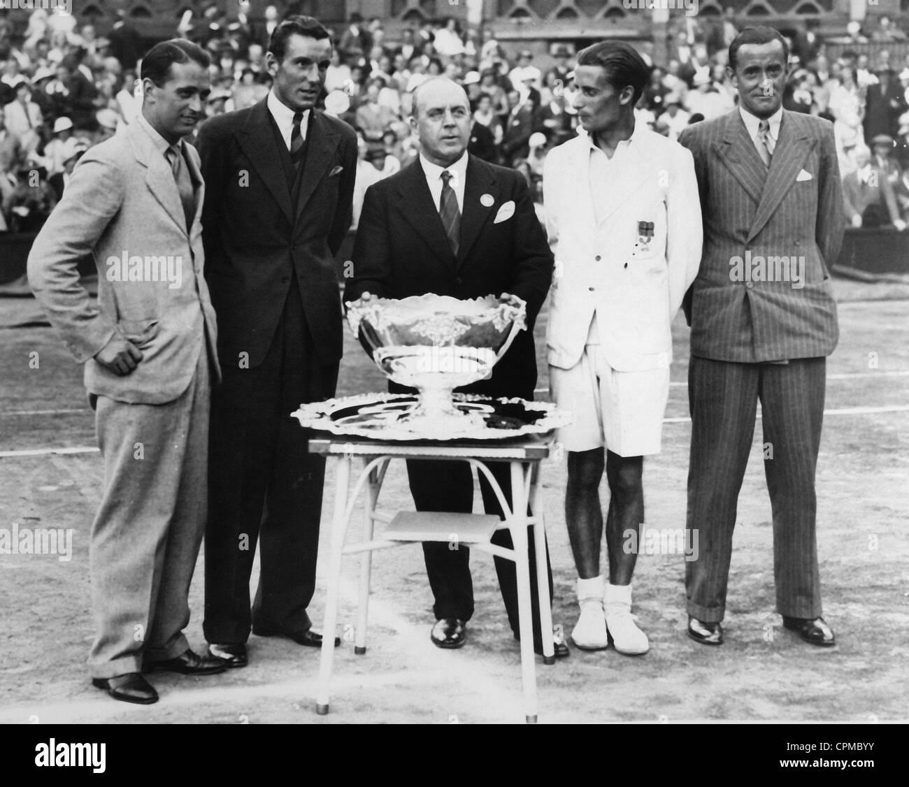 The British tennis team wins the Davis Cup, 1934 - Stock Image