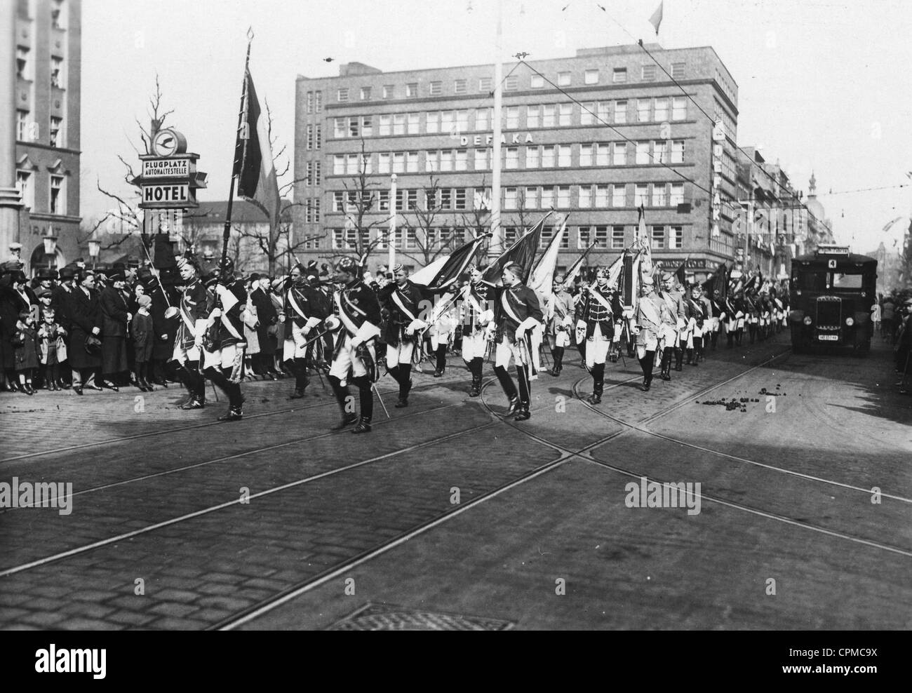 Ceremony commemorating the plebiscite which decided for Upper Silesia to remain within Germany, Gleiwitz, Upper - Stock Image