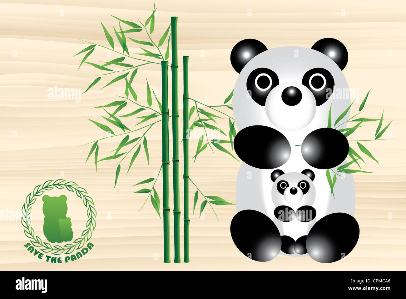panda bear illustration with logo and bamboo save the panda