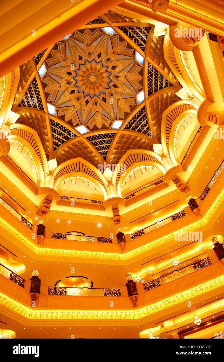 famous architectural detail of the Emirates palace hall in Abu Dhabi - Stock Image