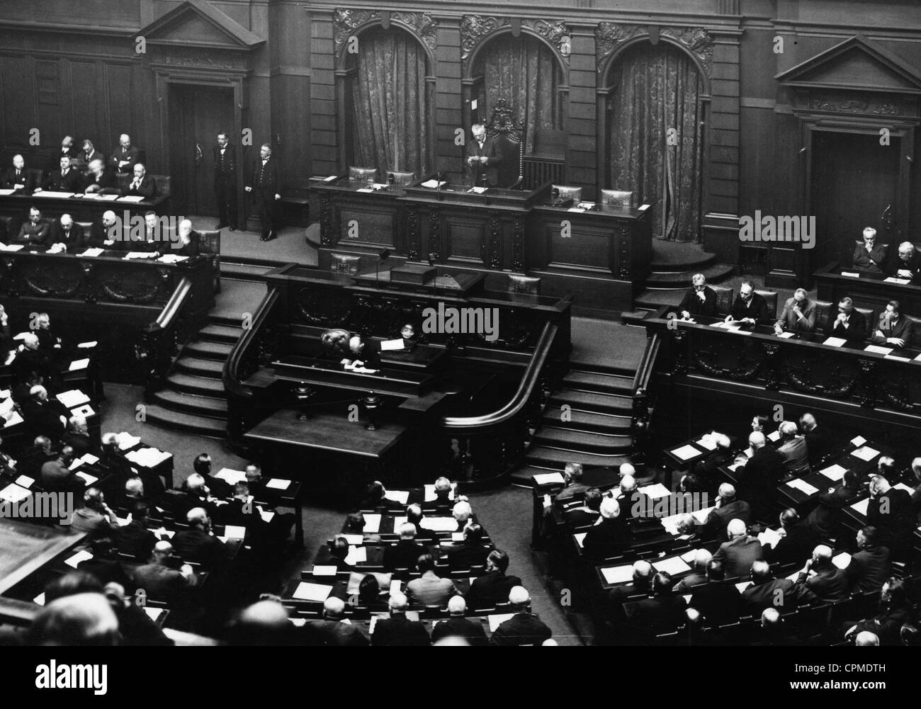 Congress of the German association of labour unions in the conference hall of the Reichstag, 13 April 1931 (b/w - Stock Image