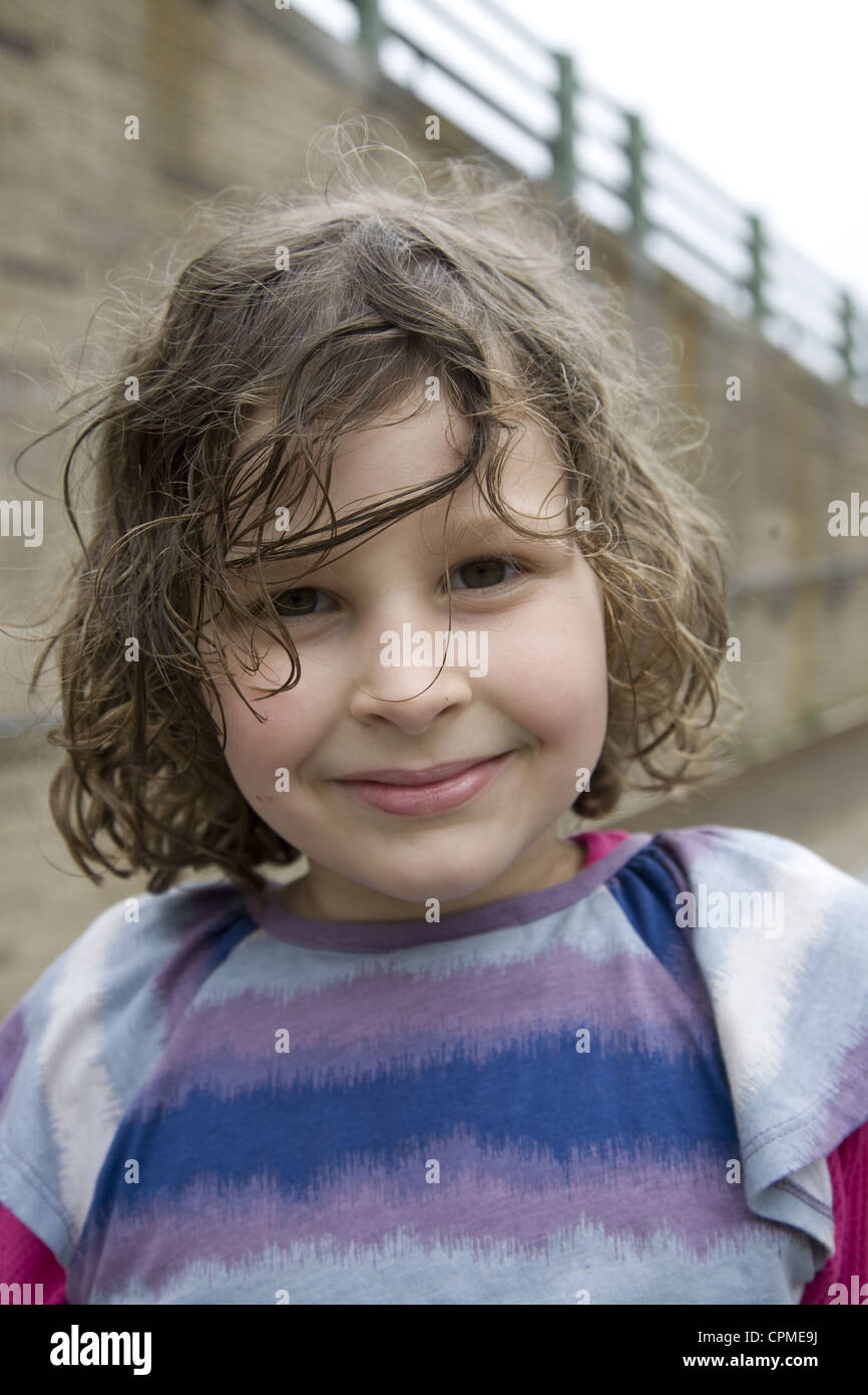 6 year old girl in Brooklyn, NY. - Stock Image