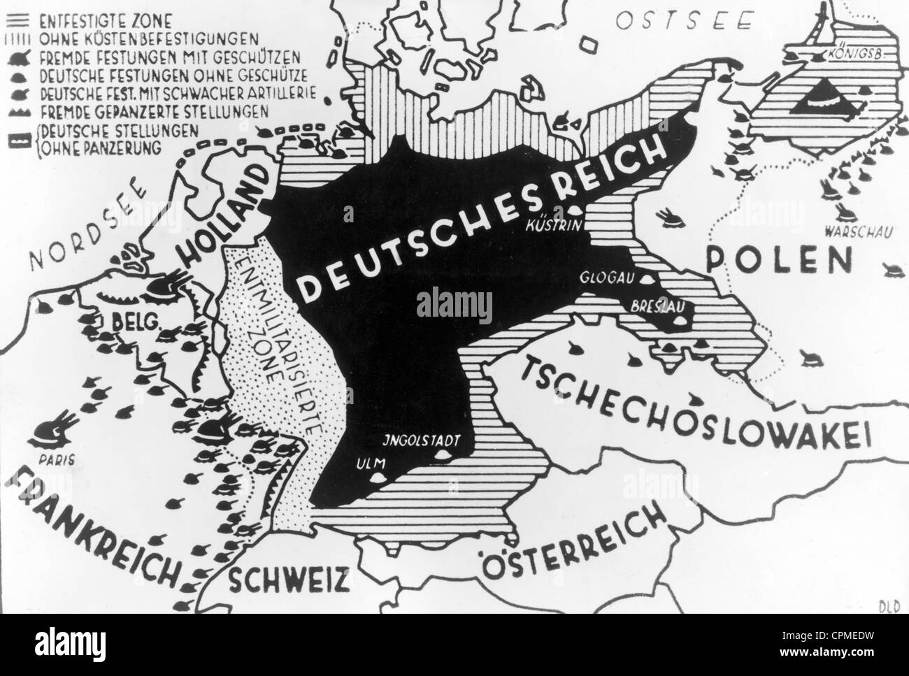Presentation of Germany's military situation after the First World War, 1920's - Stock Image