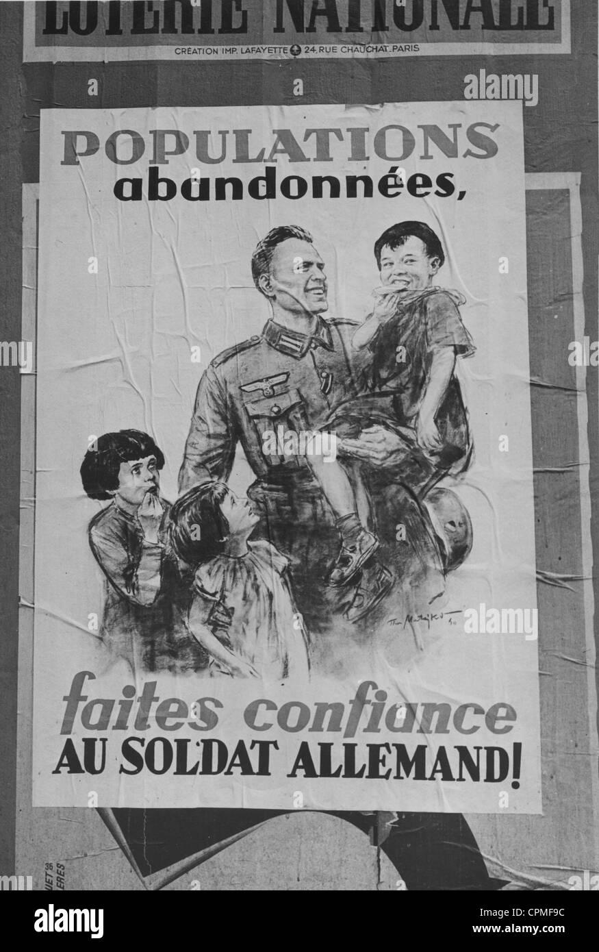 German propaganda poster in Paris, 1940 - Stock Image