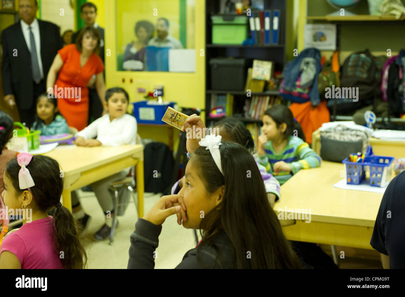 First and second grade Arabic class in New York - Stock Image