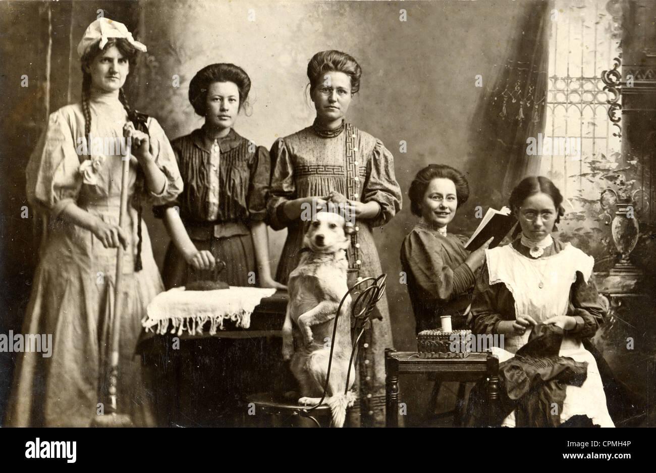 Five Women & Standup Dog - Stock Image